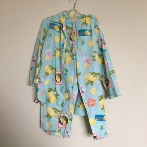 Nick & Nora LEMONADE Blue cotton pajamas Medium